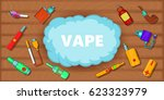 vaping tools horizontal concept.... | Shutterstock .eps vector #623323979