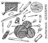 knitting and crochet  sketch...   Shutterstock . vector #623330990