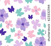 simple flower and butterfly... | Shutterstock .eps vector #623332544