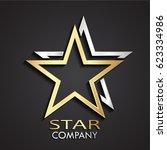 3d gold silver double star... | Shutterstock .eps vector #623334986