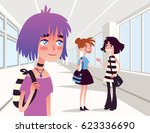 cheerful girl looking at two...   Shutterstock .eps vector #623336690