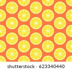round lemon slices  seamless... | Shutterstock .eps vector #623340440