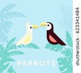 couple of tropical parrots... | Shutterstock .eps vector #623341484