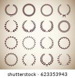 collection of sixteen circular... | Shutterstock .eps vector #623353943
