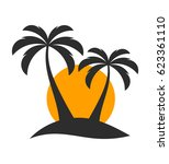 palm trees and sunset over... | Shutterstock .eps vector #623361110