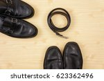 black leather shoes with men's... | Shutterstock . vector #623362496