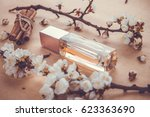 bottle of perfume with apricot...   Shutterstock . vector #623363690