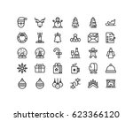 christmas and new year icon set ... | Shutterstock .eps vector #623366120