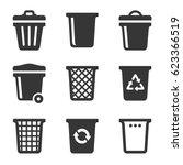 Garbage Icons Set On White...