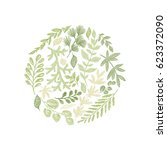 round green floral hand drawn...   Shutterstock .eps vector #623372090