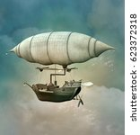 fantasy steam punk airship... | Shutterstock . vector #623372318