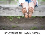 children's feet became muddy | Shutterstock . vector #623373983