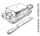 ink hand drawn butter. fresh... | Shutterstock .eps vector #623381150