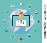 doctor on internet online... | Shutterstock .eps vector #623388314