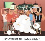 beer bar   restaurant. fight in ... | Shutterstock .eps vector #623388374