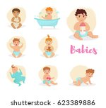set with babies. isolated art... | Shutterstock .eps vector #623389886