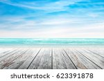 empty wooden table with party... | Shutterstock . vector #623391878