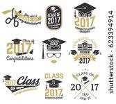set of class of 2017 badges.... | Shutterstock . vector #623394914
