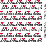 i love beer. with red heart.... | Shutterstock .eps vector #623397956