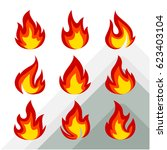 set of flame icon | Shutterstock .eps vector #623403104