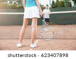 tennis players playing a match... | Shutterstock . vector #623407898
