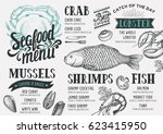 seafood menu for restaurant and ... | Shutterstock .eps vector #623415950