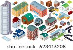 isometric buildings.... | Shutterstock .eps vector #623416208