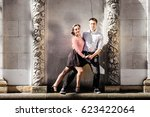 a man and a woman   swing... | Shutterstock . vector #623422064