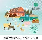 farmer domestic animals set... | Shutterstock .eps vector #623422868
