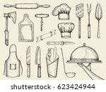 kitchen accessories vector... | Shutterstock .eps vector #623424944