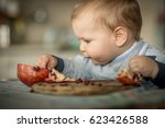 baby eating a pomegranate fruit ... | Shutterstock . vector #623426588