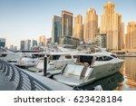dubai marina harbor with modern ...