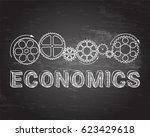 economics text with gear wheels ... | Shutterstock .eps vector #623429618