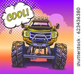 cartoon monster truck in pop... | Shutterstock .eps vector #623436380