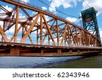 long iron bridge over a river | Shutterstock . vector #62343946