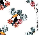 tropical seamless pattern with... | Shutterstock .eps vector #623440160