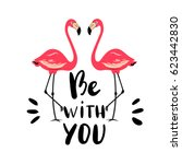 hand drawn flamingo couple.... | Shutterstock .eps vector #623442830