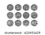 complete set of the twelve...   Shutterstock . vector #623451629