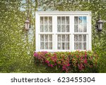 windows in the wall which is... | Shutterstock . vector #623455304