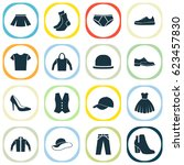garment icons set. collection... | Shutterstock .eps vector #623457830
