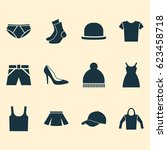 dress icons set. collection of... | Shutterstock .eps vector #623458718