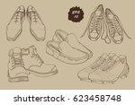 vector illustration of set hand ... | Shutterstock .eps vector #623458748