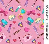 pattern of cosmetics  eyeshadow ... | Shutterstock .eps vector #623465729