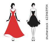 women in ball gowns silhouette... | Shutterstock .eps vector #623465954
