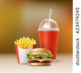 vector fast food set of... | Shutterstock .eps vector #623474243