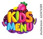 kids menu. vector cartoon...   Shutterstock .eps vector #623476589