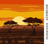 sunset  savannah  prairies ... | Shutterstock .eps vector #623480168