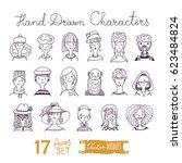 big set of hand drawn people... | Shutterstock .eps vector #623484824