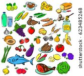 big set  food icons various... | Shutterstock .eps vector #623485268
