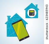 smart house design. home icon.... | Shutterstock .eps vector #623485943